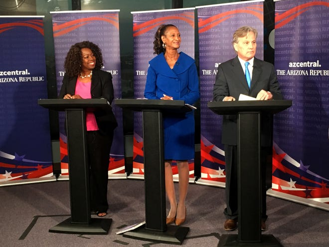The Democratic candidates for Arizona Corporation Commission, Kiana Maria Sears, Sandra Kennedy and Bill Mundell, debate in the azcentral studio on Aug. 15, 2018.