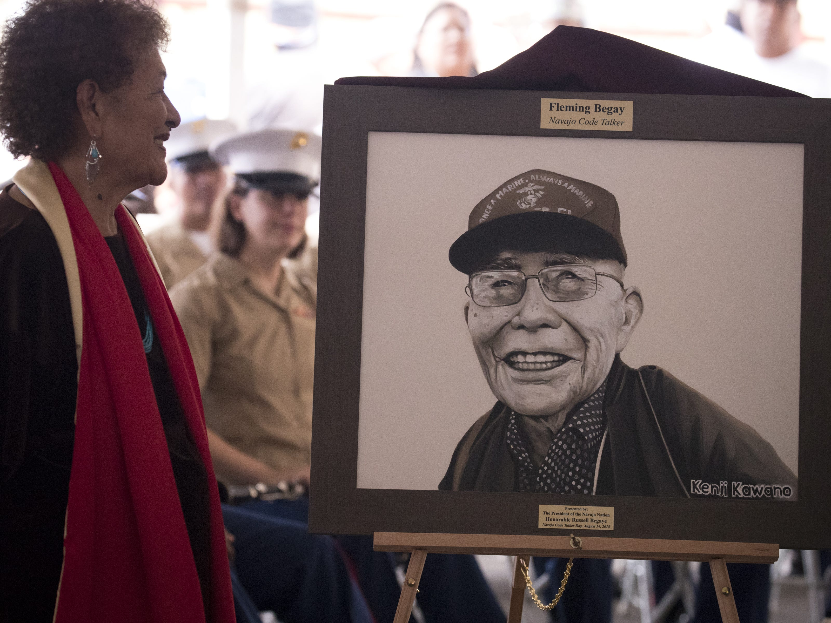 A portrait of Navajo Code Talker Flemming Begaye, Sr. is unveiled during the Navajo Nation Code Talkers Day ceremony on Aug. 14, 2018, at the Veterans Memorial Park in Window Rock.