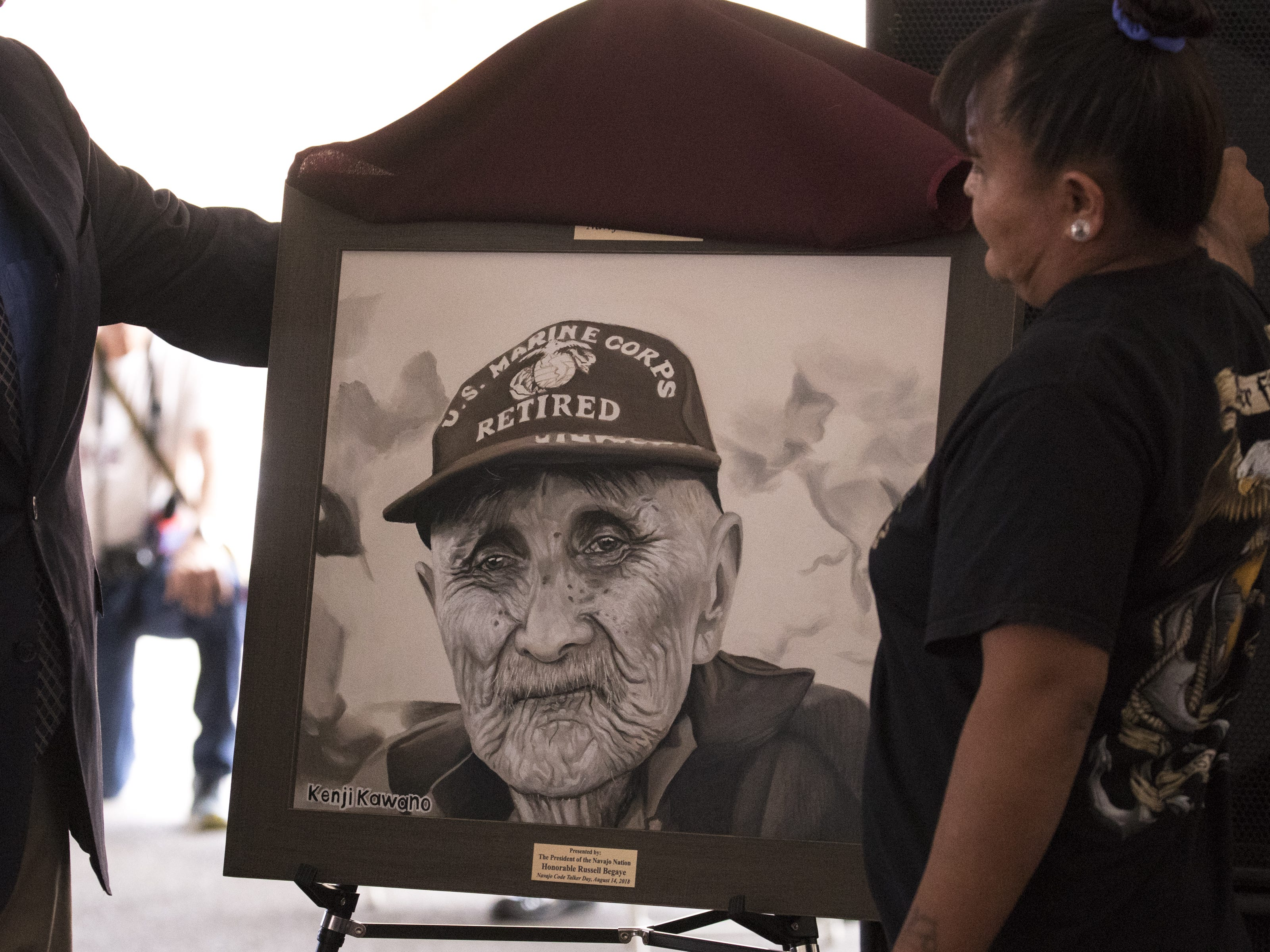 A portrait of Navajo Code Talker William T. Brown is unveiled during the Navajo Nation Code Talkers Day ceremony on Aug. 14, 2018, at the Veterans Memorial Park in Window Rock.