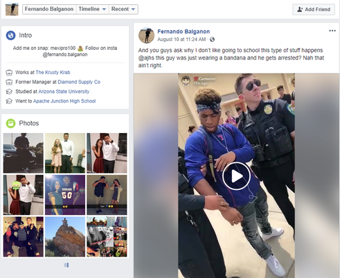 Apache Junction High student bandanna video screenshot