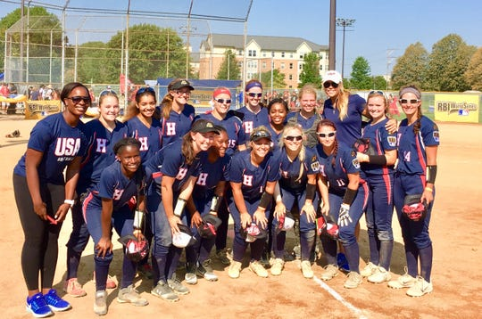 Harrisburg RBI pictured with Olympic gold medalists Jennie Finch and Natasha Watley
