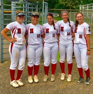 The five Franklin County members of the Harrisburg RBI team  (Jenna Mongold, Jenna Powell, Kara Neidigh, Morgan Fetter, and Emily Wenner) pose for a photo at the RBI World Sei