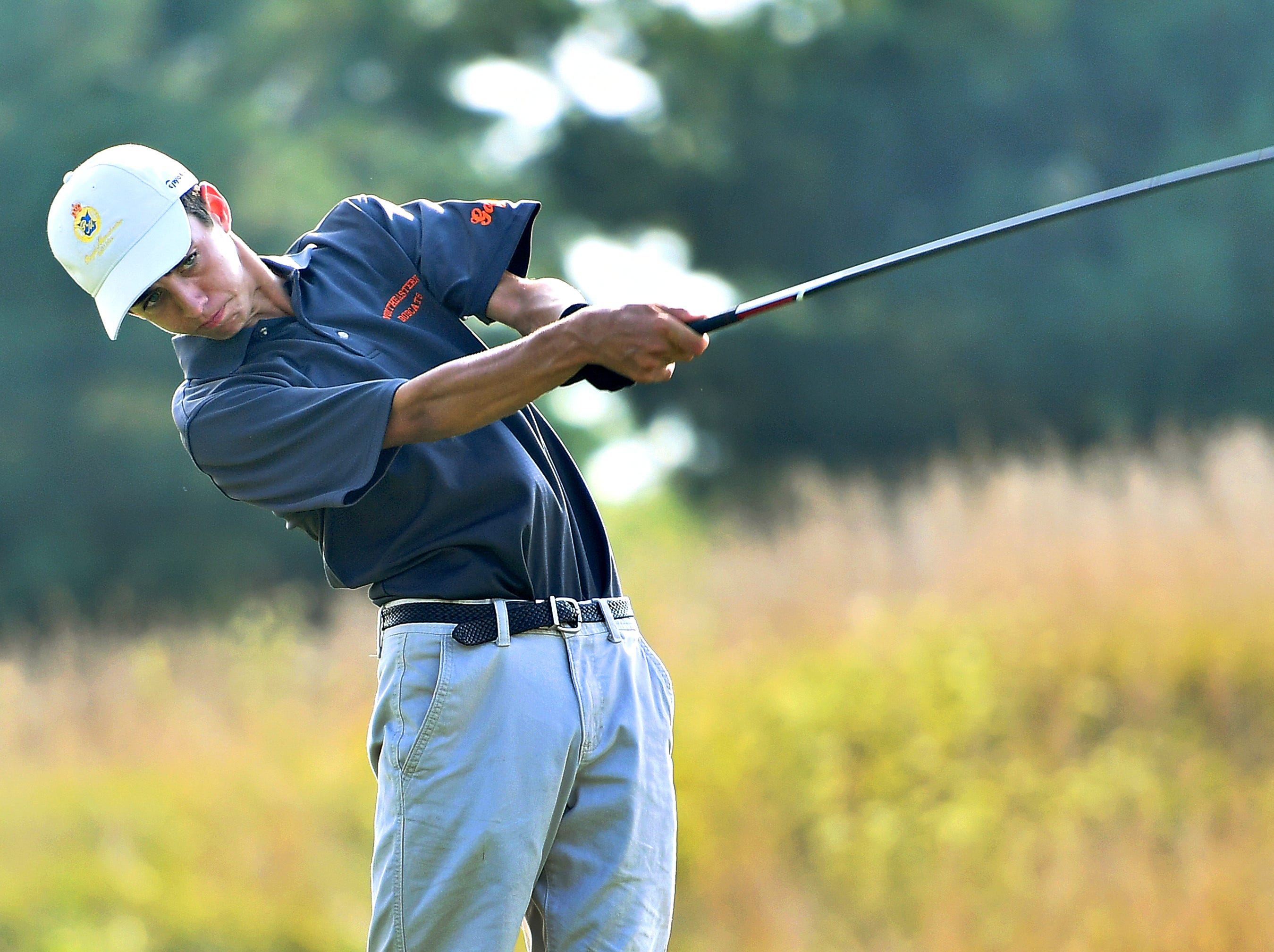 Northeastern's Tanner Sadowski tees off at hole four during York-Adams League Division I golf at Royal Manchester Golf Links in East Manchester Township, Thursday, Aug. 16, 2018. Dawn J. Sagert