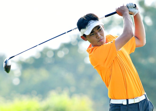 Central York's Jun Lee, seen here in a file photo, fired a 1-under-par 32 on Monday during a rain-shortened York-Adams Division I golf match at Bridgewater Golf Club. DISPATCH FILE PHOTO