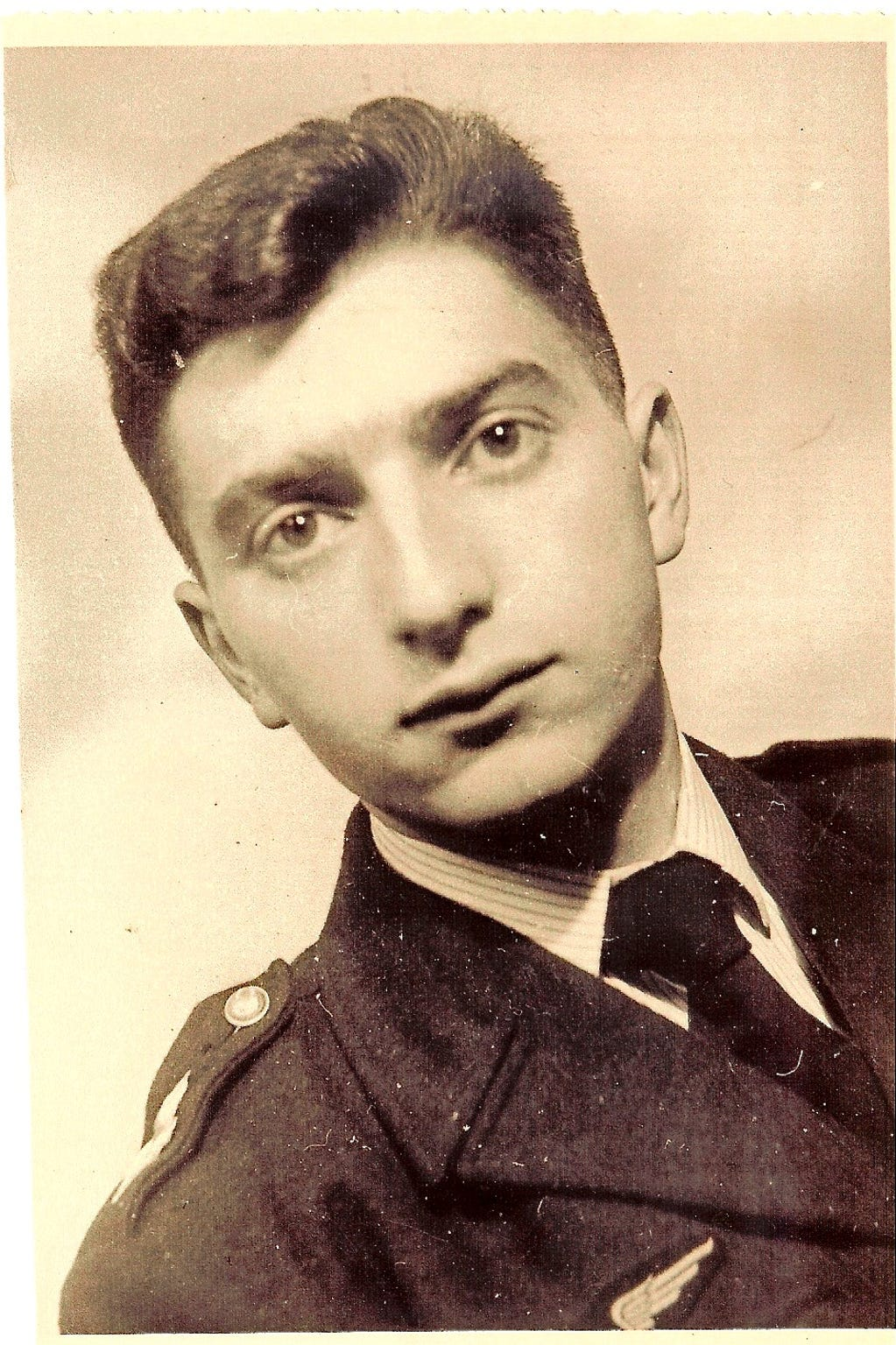A photo of Leon Malmed in uniform for serving in the French Air Force, taken in 1960.