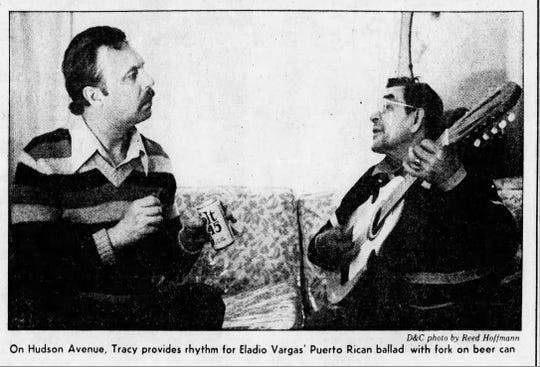 Laurence Tracy and musician Eladio Vargas in 1980.