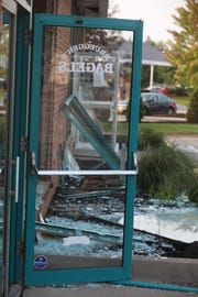 An explosion at Bruegger's Bagels in Penfield shattered doors and windows on Aug. 16, 2018.