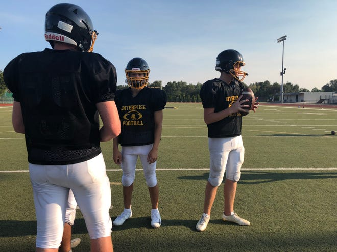 The Enterprise Hornets varsity football team holds its second outdoor practice of fall on Wednesday, Aug. 15.