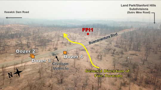 Illustration shows where three bulldozers were as a fire tornado passed over Buenaventura Boulevard on July 26 during the Carr Fire. The red FPI1 marker shows the location of Redding firefighter Jeremy Stoke.