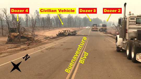 Illustration shows the final resting places of three bulldozers and a private vehicle in the aftermath of a fire tornado July 26 along Buenaventura Boulevard.
