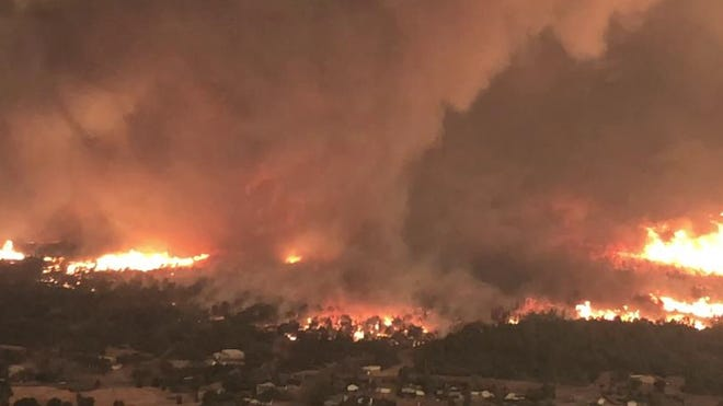A view of the July 26 fire tornado as seen by a Carr Fire helicopter coordinator looking southeast over Lake Keswick Estates.