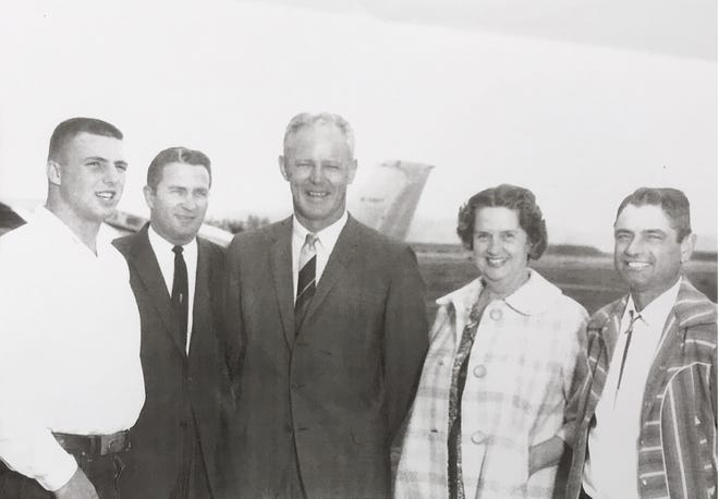 King City running back Jim Mankins (far left) was one of the first great athletes for the school and will be inducted into the Salinas Valley Hall of Fame Aug. 25. He's pictured here with King City head coach Ernie Piper (second from left), University of Oklahoma head coach Bud Wilkinson (center) and Mankins' mother and father.