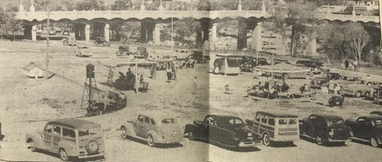 Neff's Amusement Park in San Angelo as it appeared in the summer of 1949, with the Oakes Street Bridge in the background.