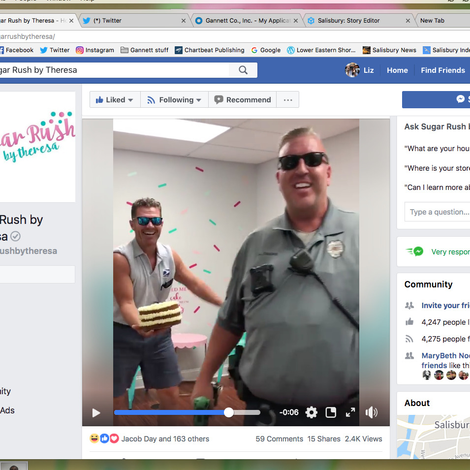 "Mail carrier Dana James, left, and Officer Aaron ""Bull"" Hudson dance in a video shot at Sugar Rush by Theresa in Salisbury."