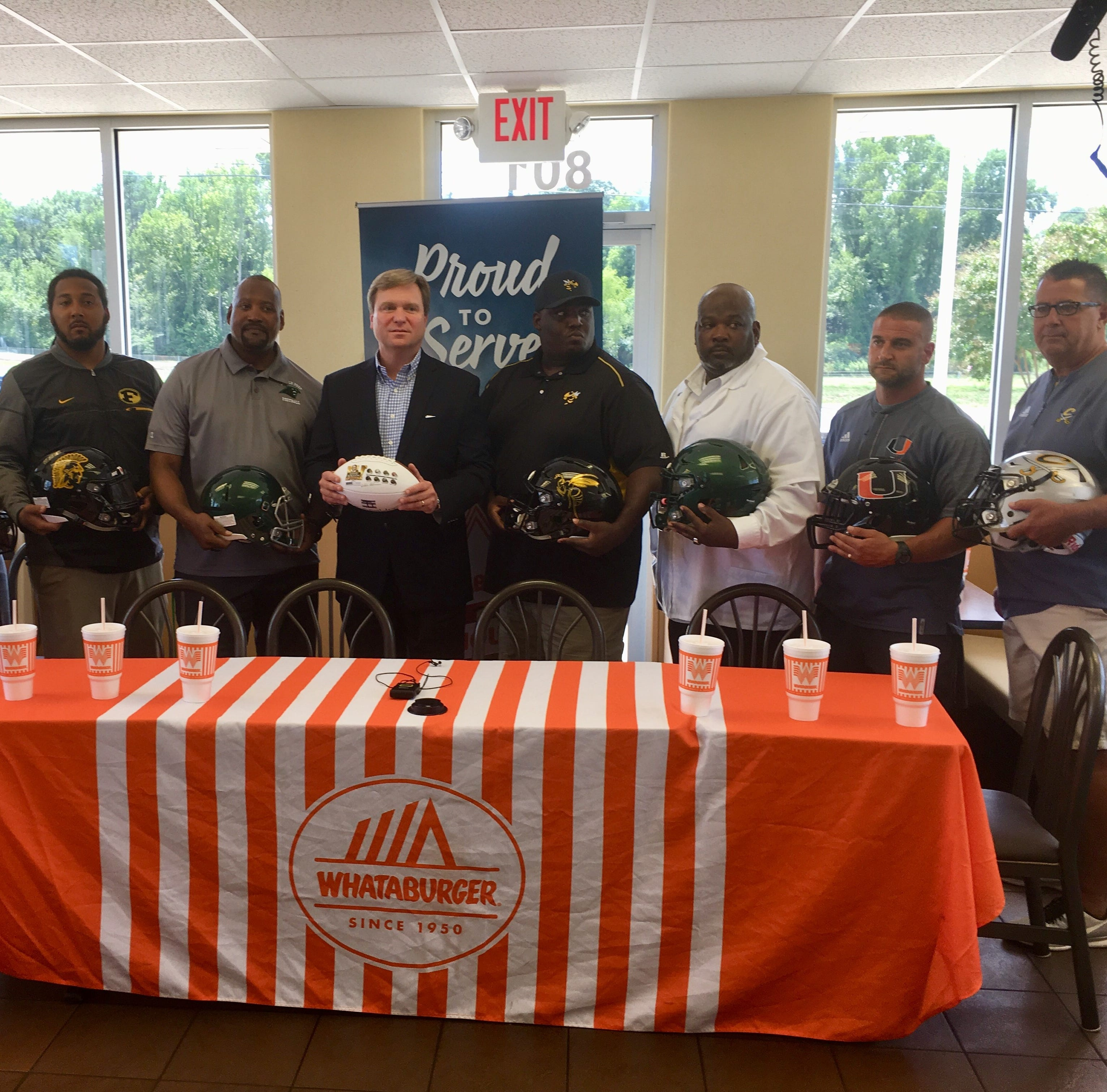 From Right to Left) Evangel Eagles' coach Byron Dawson, Northwest Raiders' coach Chris Edwards, Ferriday Trojans' Stanley Smith, Lincoln Prep Panthers' Glen Hall, Christian Creed (sponsor), Arcadia Hornets' coach Dimitri Carr, Rayville Hornets coach Lent Bursey, Union Parish Fighting Farmers' coach Joe Spatafora and Calvary Baptist Cavaliers' coach Rodney Guin.
