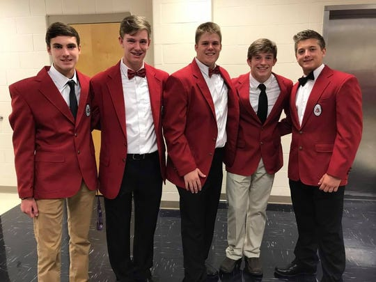 Collier and Connor Cloinger, second and third from the left, are among the Red Coats at Parkway.