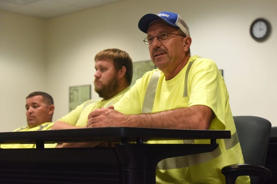 Gary Steinhoff, highway maintenance worker, speaks a press conference at the Department of Transportation office Thursday, Aug. 16, 2018.
