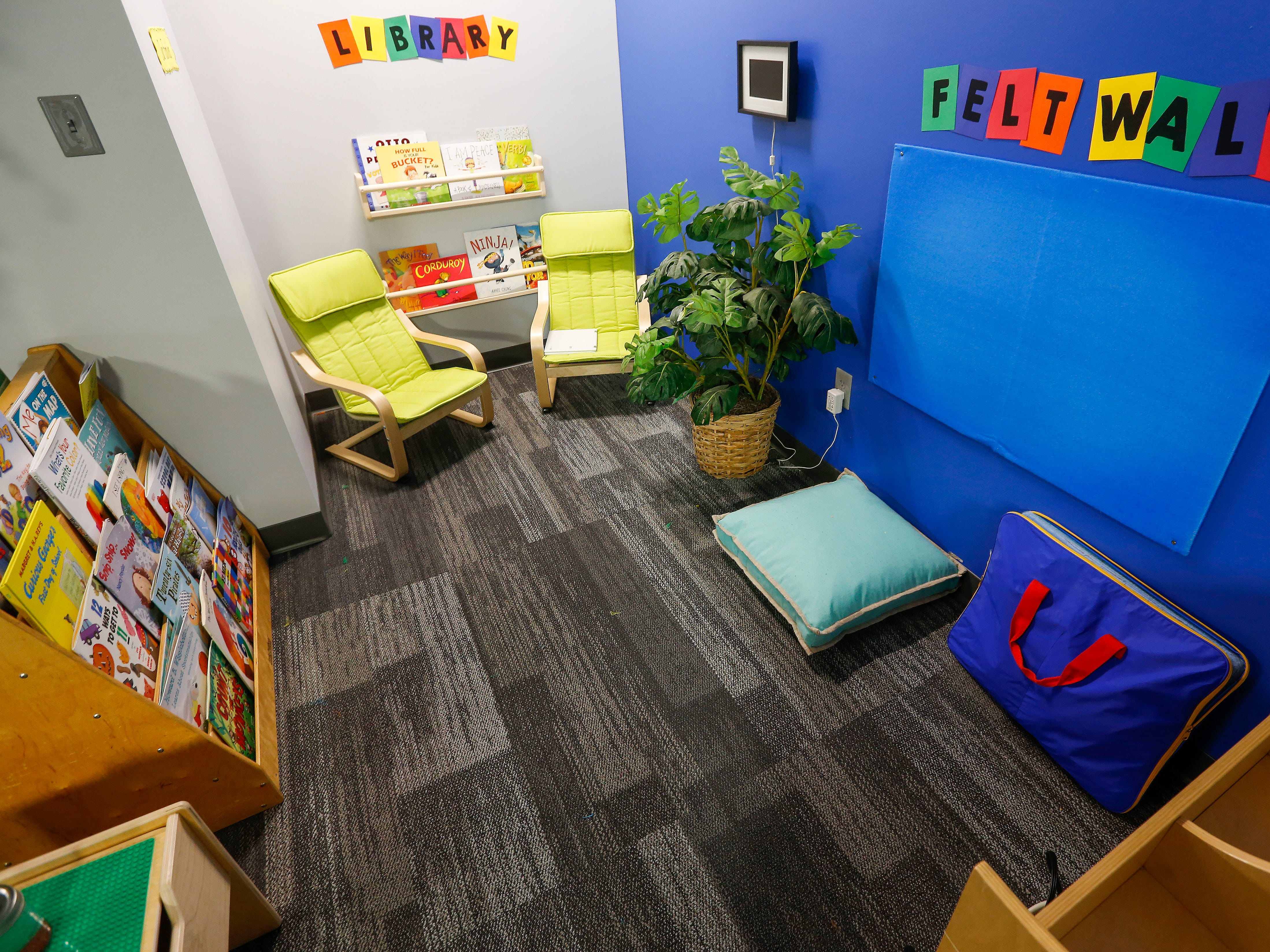 A section of the kindergarten classroom is sectioned off as a library at the Summit Preparatory School.
