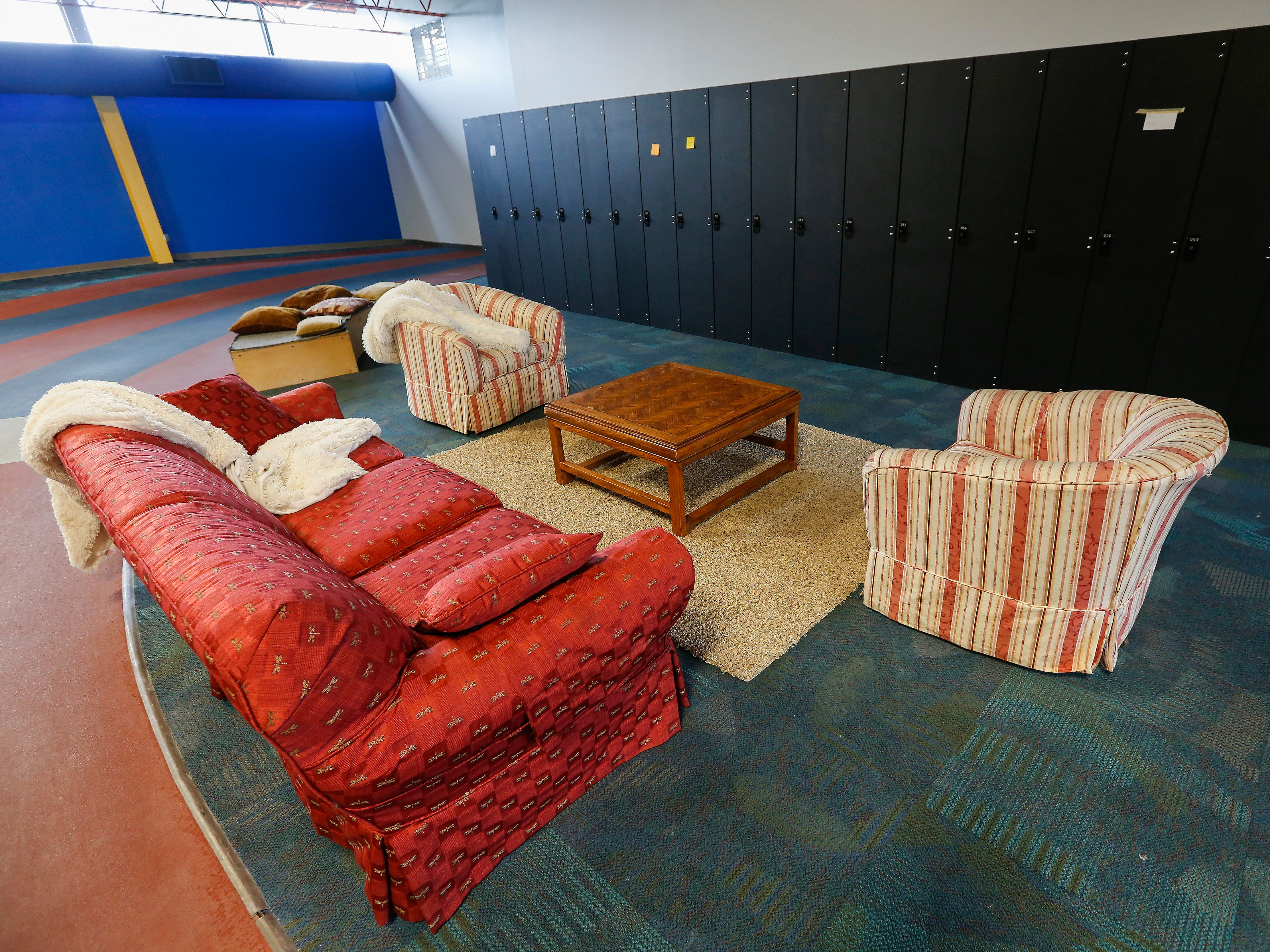 A seating area is located near lockers at the Summit Preparatory School's new location at 202 E. Walnut Lawn St.