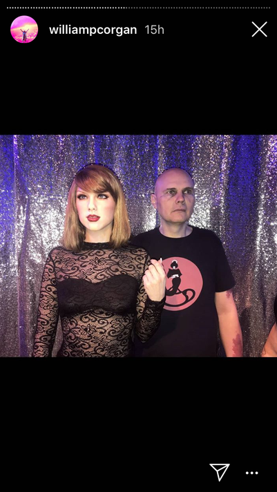 Billy Corgan with Taylor Swift statue at Hollywood Wax Museum