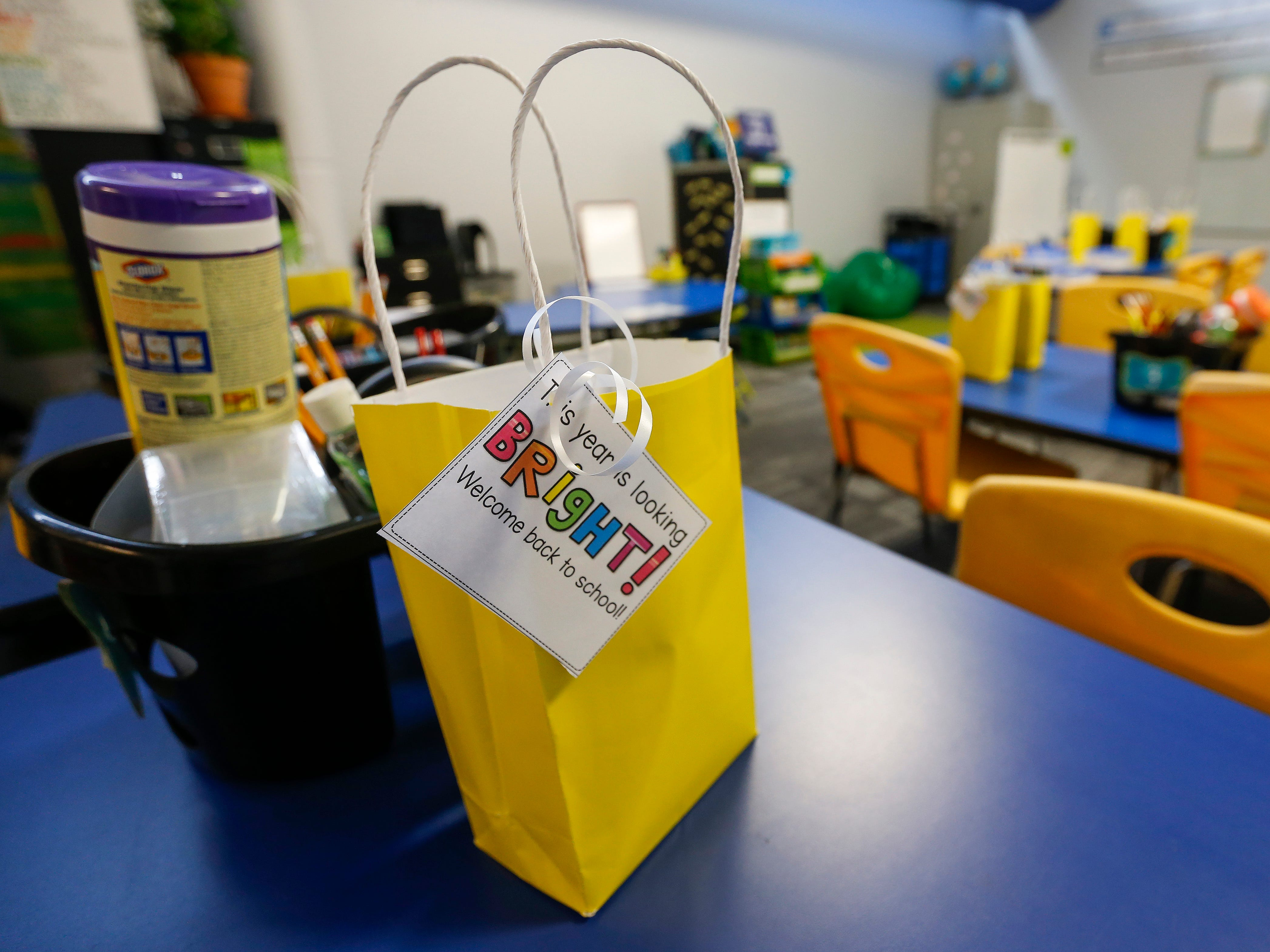 A gift bag sits on a table at the Summit Preparatory School's new location at 202 E. Walnut Lawn St.