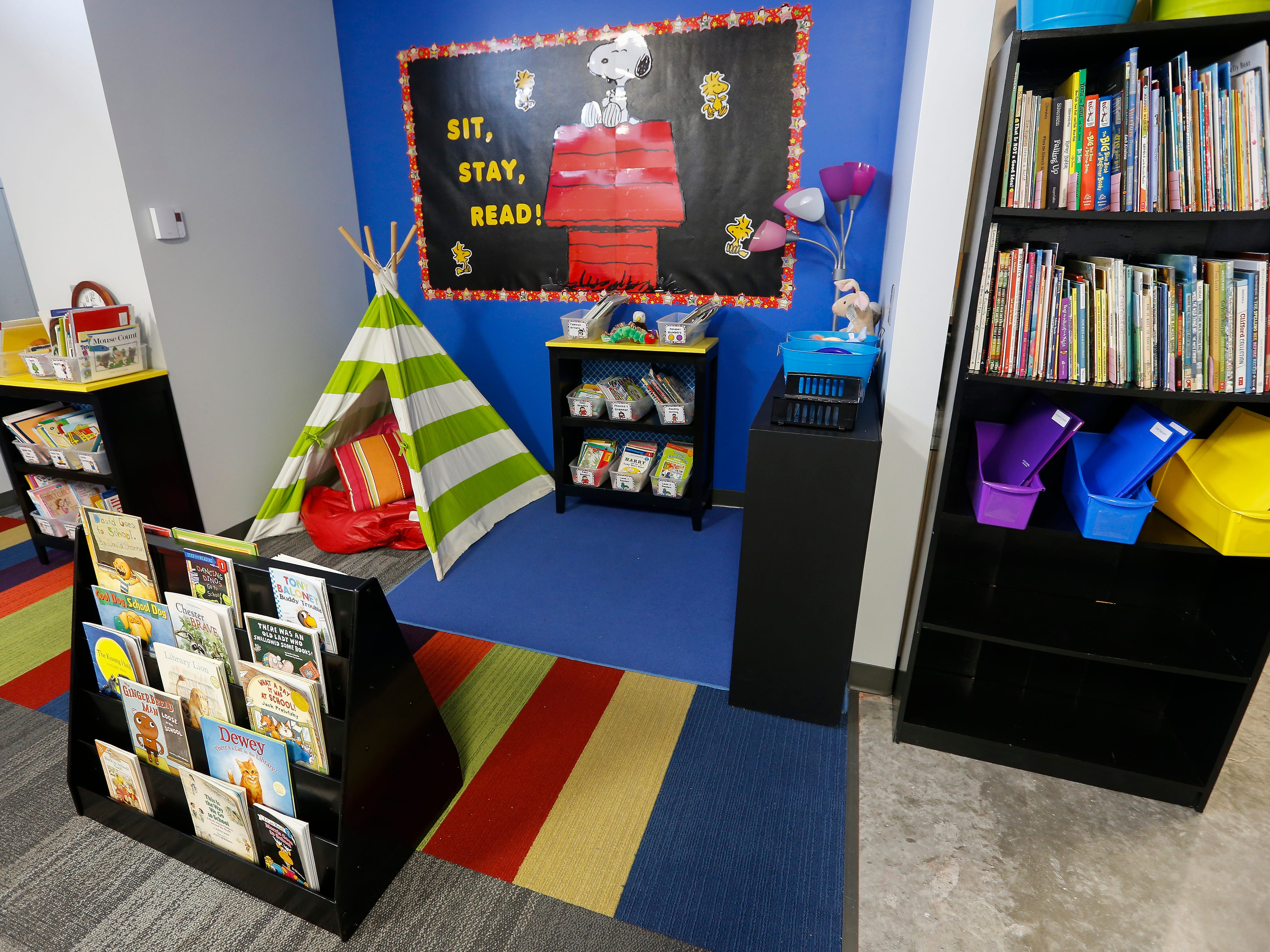 The library inside the 1st grade classroom at the Summit Preparatory School's new location at 202 E. Walnut Lawn St.