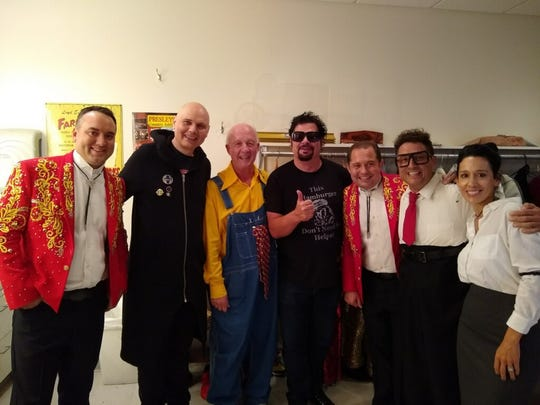 """Presleys' Country Jubilee in Branson got a visit from alt-rock royalty Wednesday. From left, John Presley, Smashing Pumpkins frontman Billy Corgan, Gary Presley in costume as Herkimer, DJ Erich """"Mancow"""" Muller, Scott Presley, Eric Presley in costume as Cecil and Kelli Presley."""