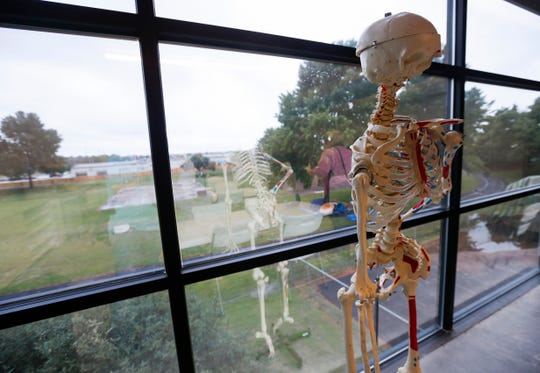 A skeleton hangs out near the window of the science classroom that looks out over the track and playground at the Summit Preparatory School's new location.