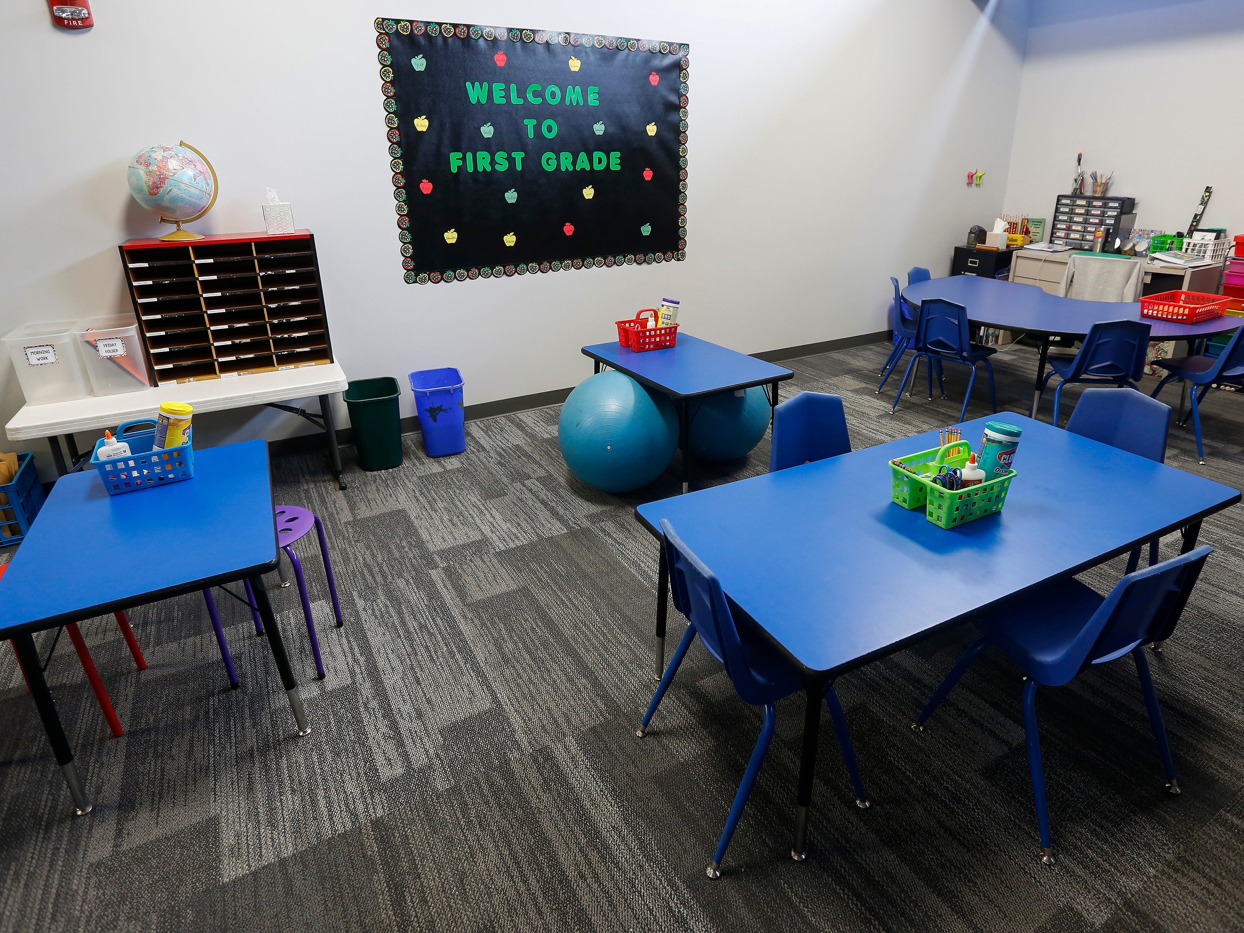 The 1st grade classroom at the Summit Preparatory School's new location at 202 E. Walnut Lawn St.