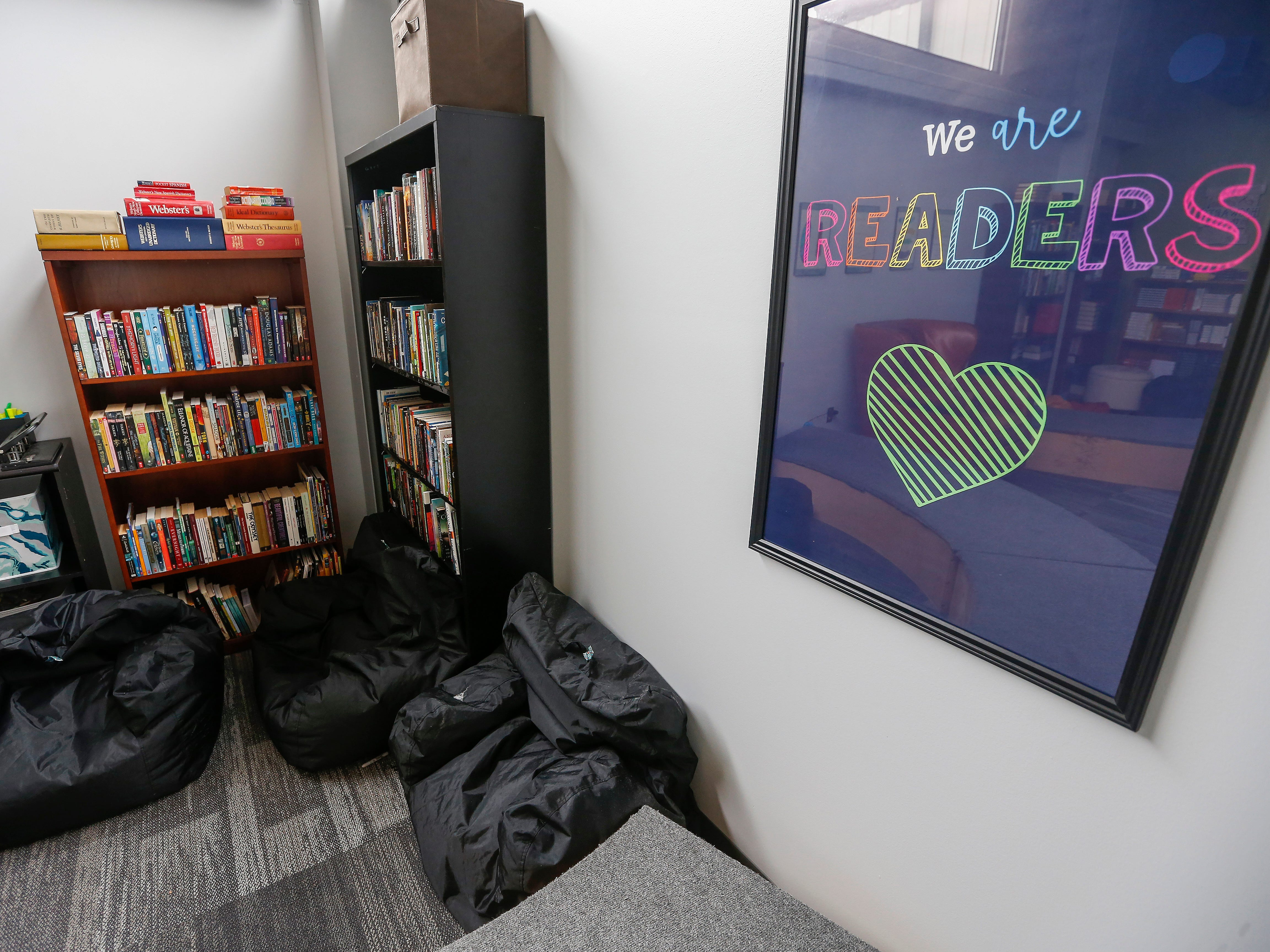 A large selection of books is available to students inside the language arts classroom at the Summit Preparatory School.
