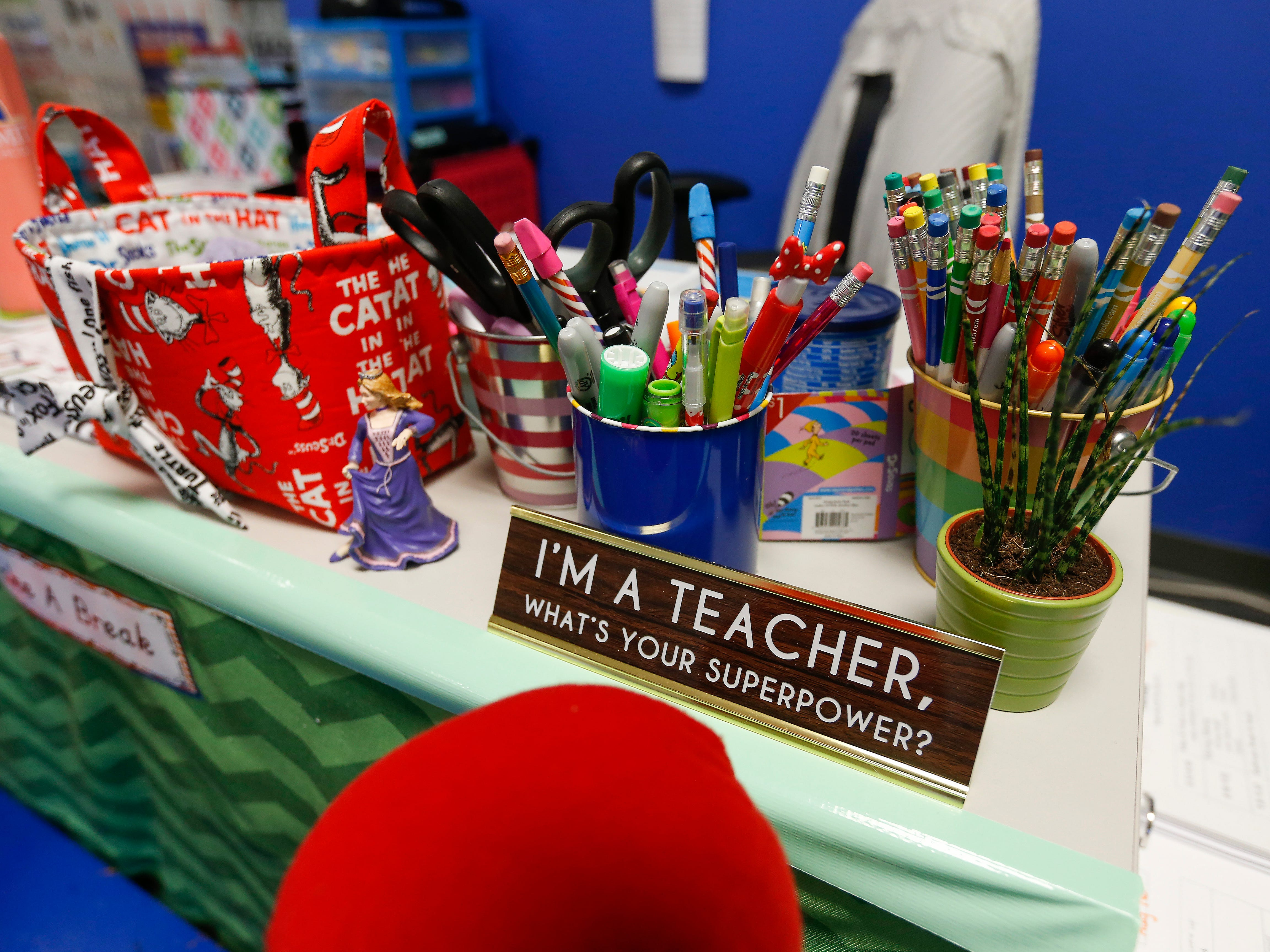 A teacher's desk inside the beginners classroom at the Summit Preparatory School.