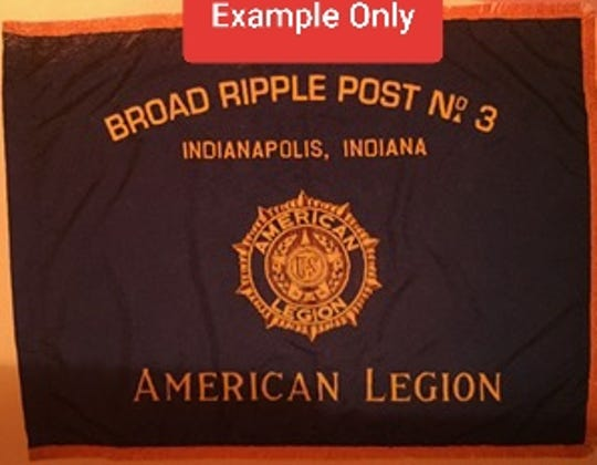 An example of the American Legion Flag stolen from Rice American Legion last week.