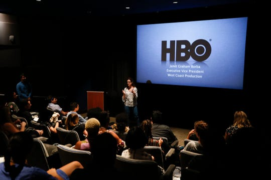 HBO exec Janet Graham Borba presents a talk on the making of Game of Thrones during a Television Academy Foundation Intern Field Trip to HBO offices on Thursday, July 12, 2018 in Santa Monica, Calif.