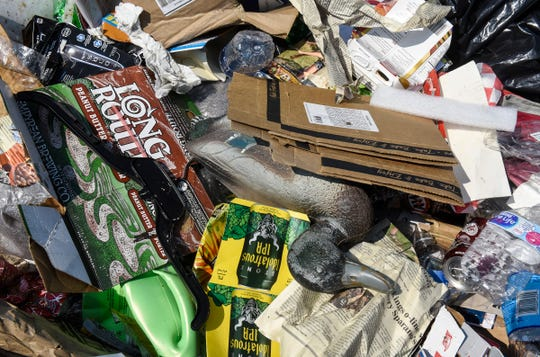 A sample collection of non-recyclable materials is collected Wednesday, Aug. 15, at the Republic Services Transfer Center in East St. Cloud.