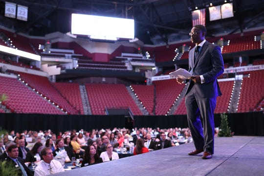 Chair-Elect Darrick McGhee speaks to the crowd gathered for the annual United Way Community Luncheon at the Tucker Civic Center on Thursday, August 16, 2018.