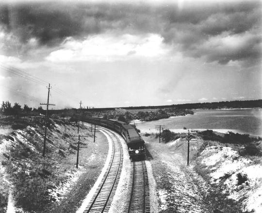 FEC train traveling in Hobe Sound in the 1920s