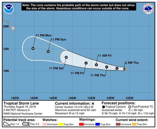 Tropical Storm Lane 5 a.m. Aug. 16, 2018