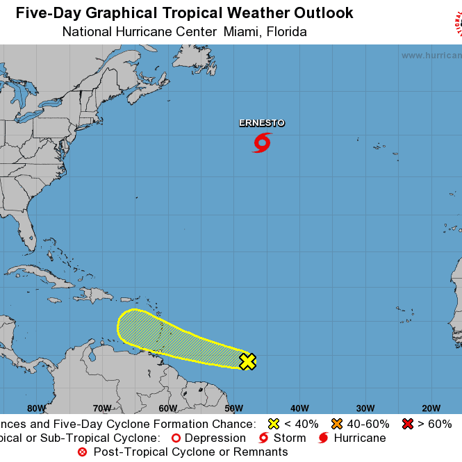 Tropical wave forms east of Caribbean Sea as Subtropical Storm Ernesto moves into North Atlantic