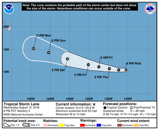Projected path of Tropical Storm Lane as of 11 p.m. Wednesday, Aug. 15, 2018.