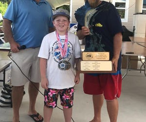 Zane Price, 10, of Jensen Beach collected his third career Outstanding Angler award in the Stuart Sailfish Club Junior Angler Tournament Saturday by catching and releasing a sailfish, nabbing first place snapper and second place amberjack awards.