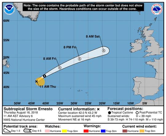Subtropical Storm Ernesto 11 a.m. Aug. 16, 2018.