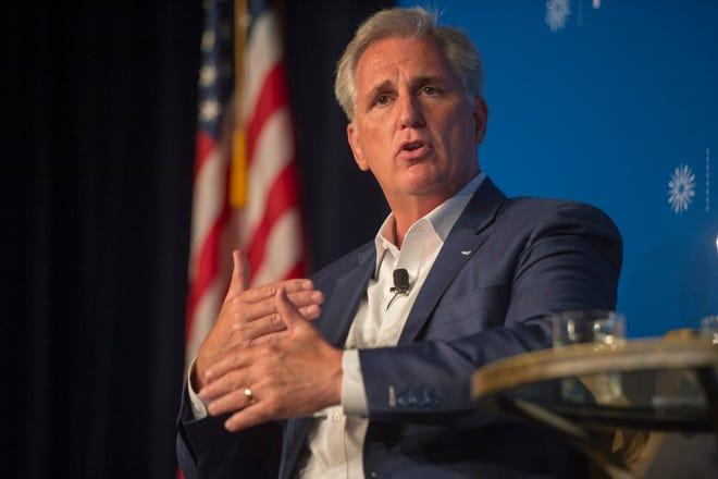 Rep. Kevin McCarthy, R-Bakersfield, answers questions during an event with the Public Policy Institute of California in Sacramento on Wednesday.