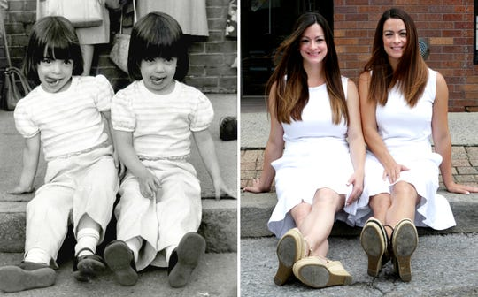 Twin sisters Caitlin Kerrigan Karnbach, left, and Meghan Kerrigan Voccio, pose in Mount Kisco Aug. 12, 2018. The photo of the twins, on the left, was taken 33 years-ago by Carrie Yale, during a fireman's parade in Mount Kisco when they were 3 years-old.