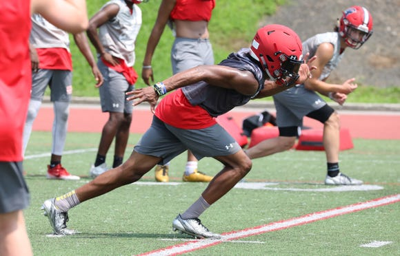 Stepinac's Shawn Harris during a pre-season practice at the school in White Plains Aug. 16, 2018.