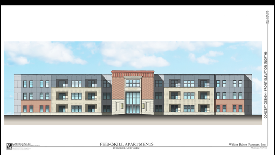 A rendering of the affordable and workforce apartments planned for 645 Main St.. in Peekskill. This rendering shows the building from the front of the nearly two-acre property, which is between Main Street and Central Avenue.