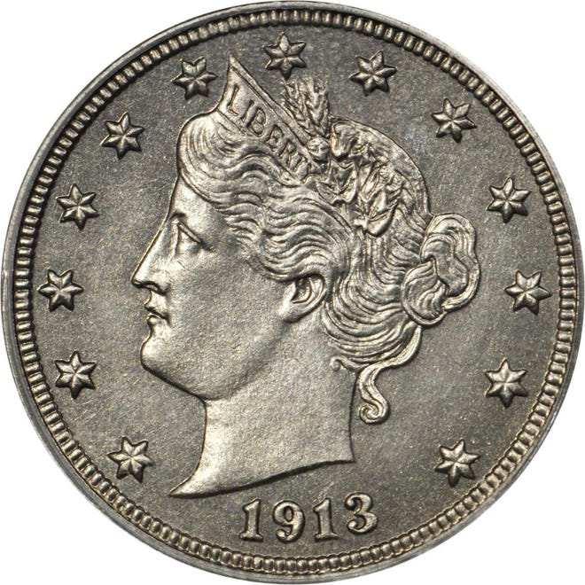 The Eliasberg 1913 Liberty Head nickel, one of only five produced, sold at auction for $4.56 million on Wednesday in Philadelphia.