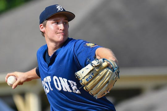 St. Mark's graduate Chris Ludman, shown here pitching against Iowa in the American Legion World Series last Thursday, threw eight shutout innings in Delaware Post One's 1-0 victory in the championship game on Tuesday night.