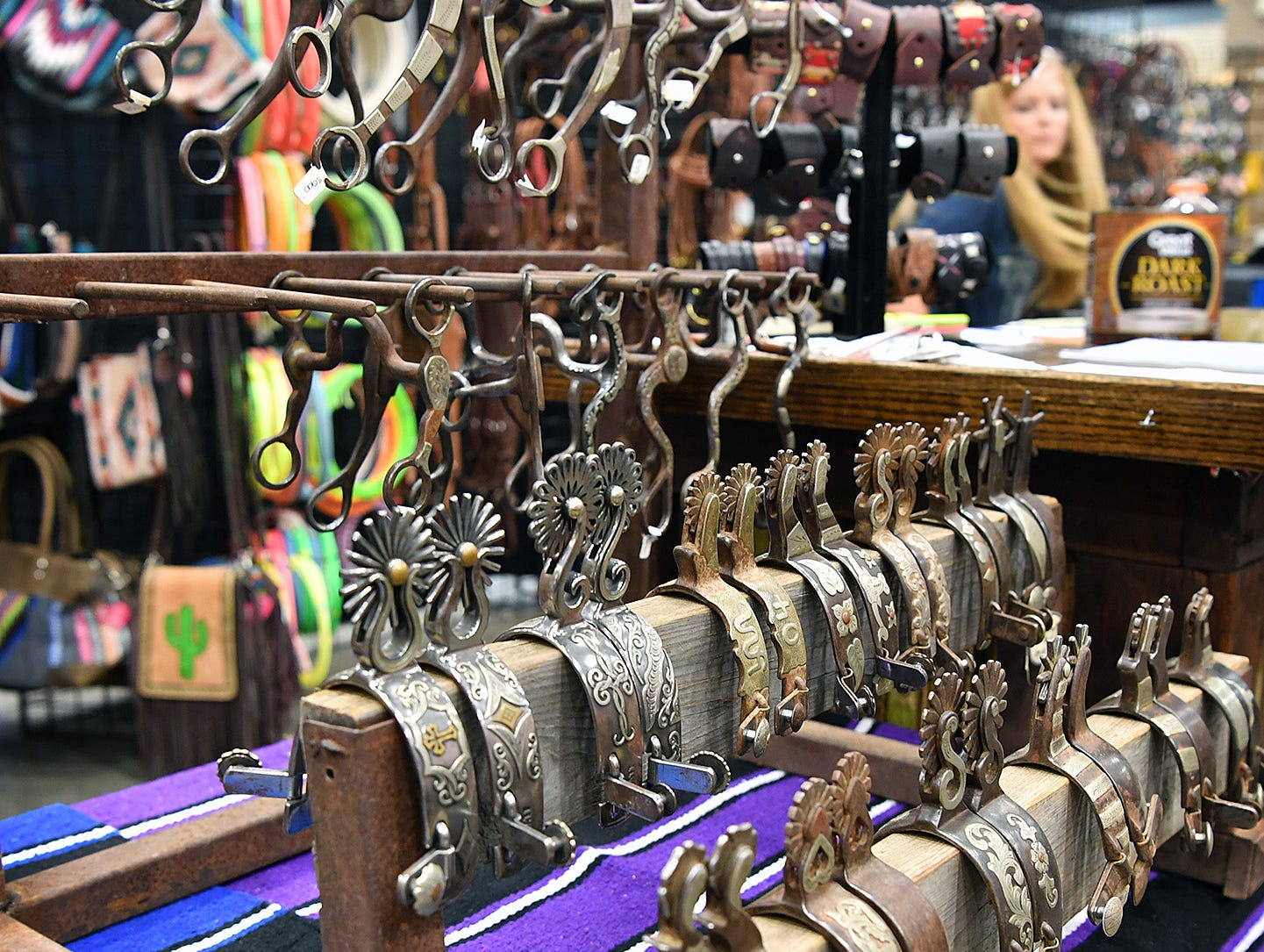Functional style and artistic design of merge with the handmade bits and spurs on display at the Texas Ranch Roundup trade show Thursday morning at the Ray C;ymer Exhibit Hall.