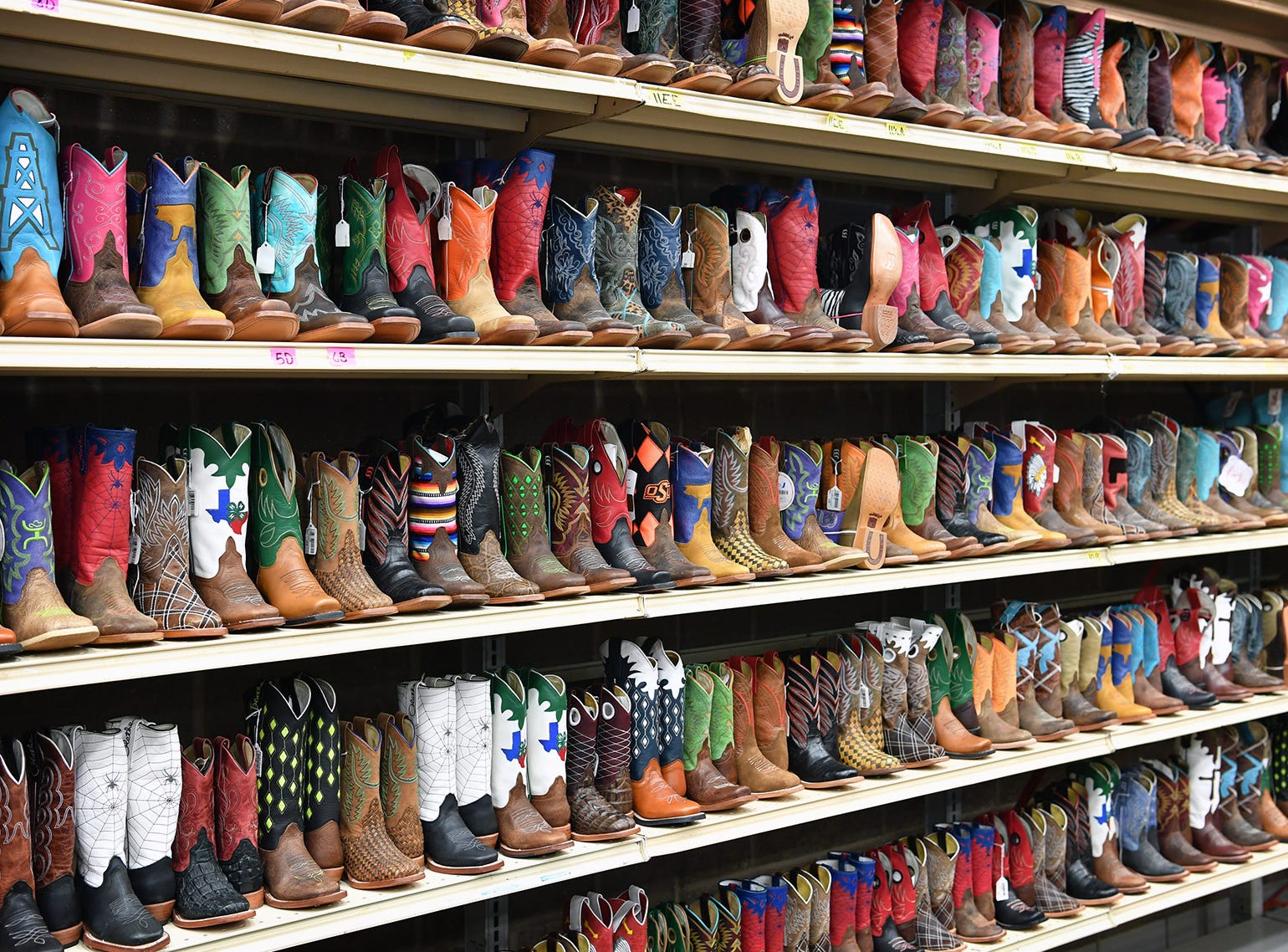 A huge selection of colorful cowboy boots for sale at the Box, Inc. booth at the Texas Ranch Roundup trade show Thursday morning at the Ray C;ymer Exhibit Hall.