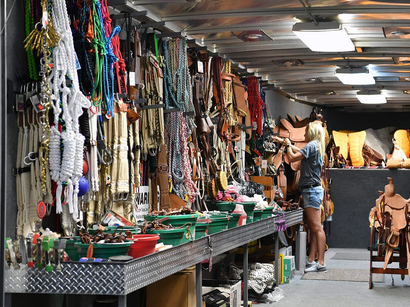 Teskey's Circle T Saddlery brought a trailer full of merchandise to the Texas Ranch Roundup trade show Thursday morning at the Ray C;ymer Exhibit Hall.